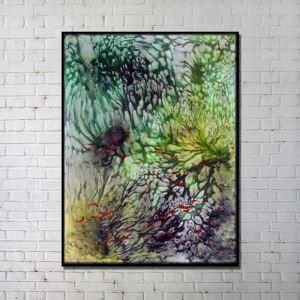 Leinwandbild Abstrakt Fisch im Wasser Digitaldruck ohne Rahme-D