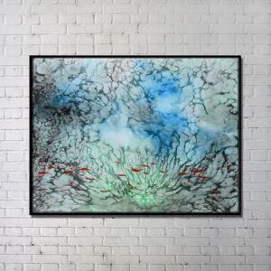 Leinwandbild Abstrakt Fisch im Wasser Digitaldruck ohne Rahme-E