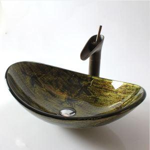 (EU Lager)Glas Waschbecken Oval Europäisch Stil