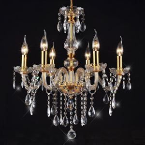 (EU Lager)Attraktiver Kronleuchter Kristall Gold, 6-flammig