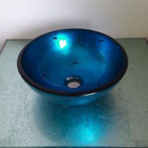 (EU Lager)Modern Glas Waschbecken Mini für Gäste WC Rund Blau