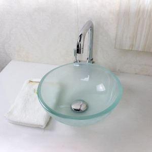 (EU Lager)Glas Waschbecken Modern Milchglas Für Gäste Bad Rund