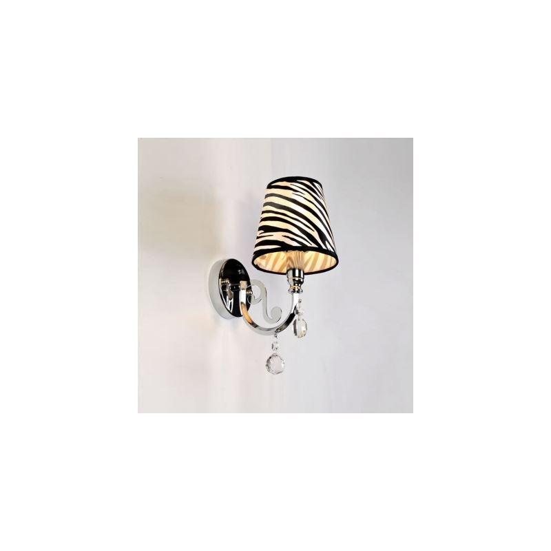 (EU Lager)Moderne Wandleuchte Kristall mit Zebra Design Stoff Schirm