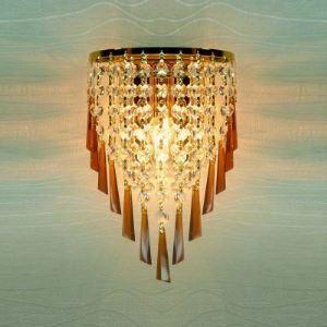 (EU Lager)Schöne Wandleuchte Kristall mit Gold Eisenplatte 1-flammig