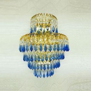 (EU Lager)Schöne Wandleuchte mit Blau Kristall Gold 3-Flammig