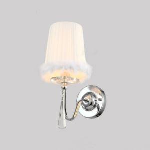 (EU Lager)Elegante Wandleuchte Kristall mit Weiß Stoff Schirm 1-Flammig