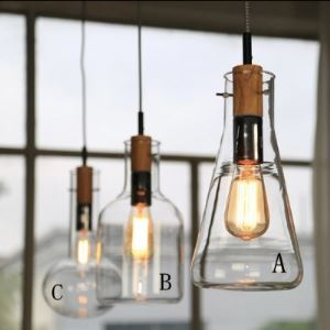 (EU Lager)Glas Pendelleuchte Chemie Reagenzglas Design 1-Flammig