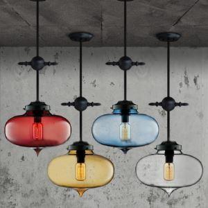 (EU Lager)Glas Pendelleuchte Industrie Stil Oval Design 1-Flammig