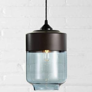 (EU Lager)Mini Pendelleuchte Industrie Stil aus Glas und schwarz Metall 1-Flammig