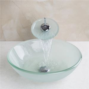 (EU Lager) Runde Milchglas Waschbecken mit Wasserfall Wasserhahn, Montage Ring und Wasserablauf (0917-VT4067)