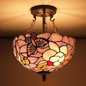 (EU Lager)Pendelleuchte aus Glas im Tiffany Stil Schmetterling Design Kronleuchter 3-Flammig