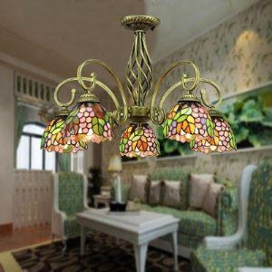 (EU Lager)Tiffany Kronleuchter Traube Design 5-Flammig