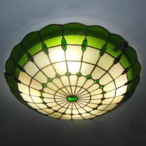 (EU Lager)Tiffany Deckenleuchte aus Glas Grün 1-Flammig