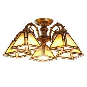 (EU Lager)Antik Kronleuchter im Tiffany Stil aus Glas Kegel Design 5-Flammig