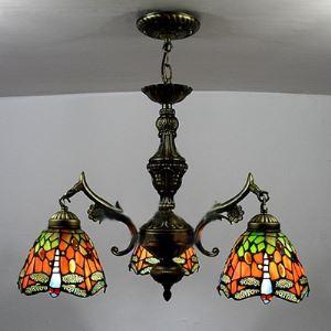 (EU Lager)Kronleuchter im Tiffany Stil Libelle Design 3-Flammig