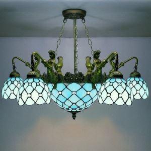 (EU Lager)Tiffany Kronleuchter aus Glas Meerjungfrau Design Blau 8-Flammig