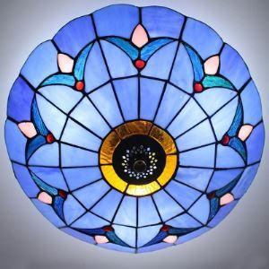 (EU Lager)Deckenleuchte im Tiffany Stil aus Glas Blau 2-Flammig
