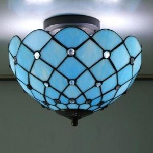 (EU Lager)Tiffany Deckenleuchte im Mediterranen Stil aus Glas Blau 3-Flammig