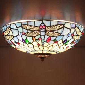 (EU Lager)Schöne Deckenleuchte aus Glas im Tiffany Stil Libelle Design 3-Flammig