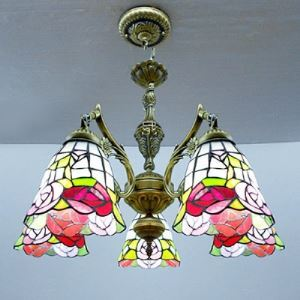 (EU Lager)Tiffany Kronleuchter Rose Design aus Glas Bronze 5-Flammig