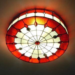 (EU Lager)Tiffany Deckenleuchte aus Glas Rot 3-Flammig
