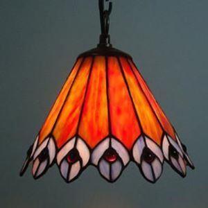 (EU Lager)Pendelleuchte aus Glas im Tiffany Stil Pfau Design 1-Flammig