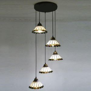 (EU Lager)Tiffany Pendelleuchte Landhaus Stil 5-Flammig
