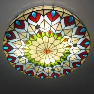 (EU Lager)Tiffany Stil Deckenleuchte aus Glas Pfau Design Rund 3-Flammig