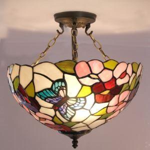 (EU Lager)Tiffany Hängeleuchte aus Glas Floral und Schmetterling Design 3-Flammig