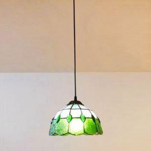 (EU Lager)Pendelleuchte aus Glas im Tiffany Stil Grün 1-Flammig