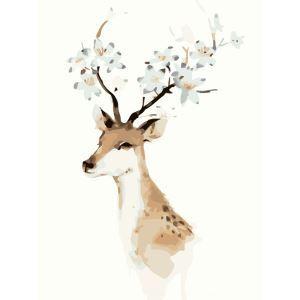 (EU Lager)Malen nach Zahlen Hirsch Floral DIY Handgemaltes Digital Ölgemälde 40*50 cm
