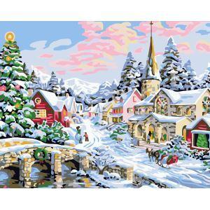 (EU Lager)Malen nach Zahlen Weihnachten Winter Stadt Landschaft DIY Handgemaltes Digital Ölgemälde 40*50 cm
