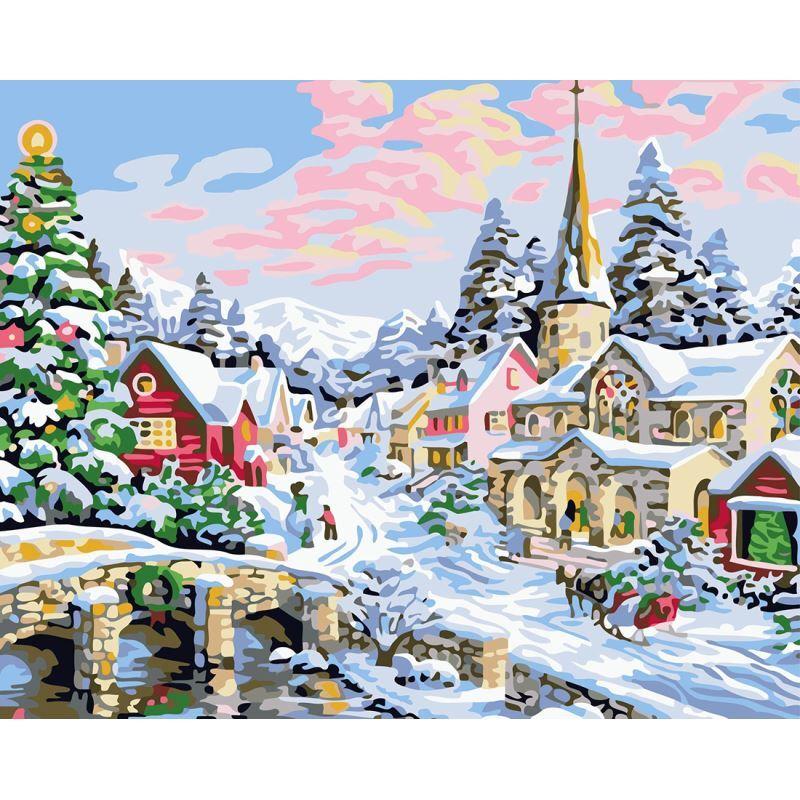 Malen nach Zahlen Weihnachten Winter Stadt Landschaft DIY ...