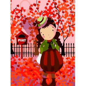 (EU Lager)Malen nach Zahlen Mädchen unter Rot Ahorn DIY Handgemaltes Digital Ölgemälde 30*40 cm