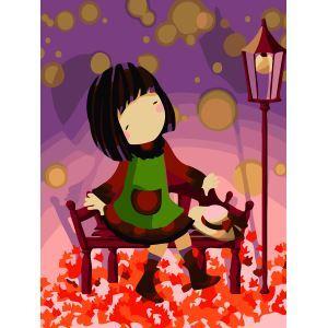 (EU Lager)Malen nach Zahlen Mädchen mit Rot Ahorn DIY Handgemaltes Digital Ölgemälde 30*40 cm