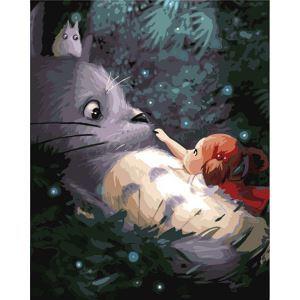 (EU Lager)Malen nach Zahlen Cartoon Mein Nachbar Totoro DIY Handgemaltes Digital Ölgemälde 40*50 cm