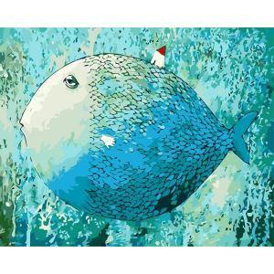 (EU Lager)Malen nach Zahlen Cartoon Schlafender Fisch DIY Handgemaltes Digital Ölgemälde 40*50 cm
