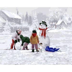 (EU Lager)Malen nach Zahlen Weihnachten Winter Landschaft DIY Handgemaltes Digital Ölgemälde 40*50 cm
