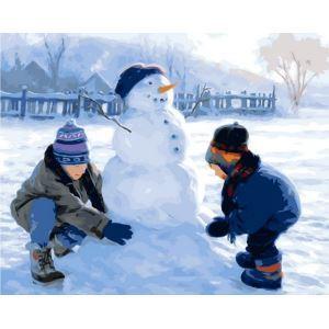 (EU Lager)Malen nach Zahlen Weihnachten Schneemann DIY Handgemaltes Digital Ölgemälde 40*50 cm