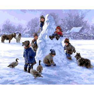 (EU Lager)Malen nach Zahlen Weihnachten Schneemann mit Kindern DIY Handgemaltes Digital Ölgemälde 40*50 cm