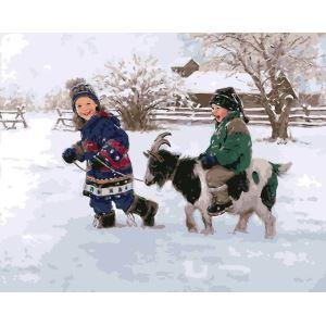 (EU Lager)Malen nach Zahlen Weihnachtsdeko Kinder mit Bergziege DIY Handgemaltes Digital Ölgemälde 40*50 cm
