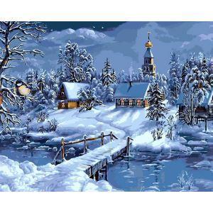 (EU Lager)Malen nach Zahlen Weihnachten Winter Haus DIY Handgemaltes Digital Ölgemälde 40*50 cm