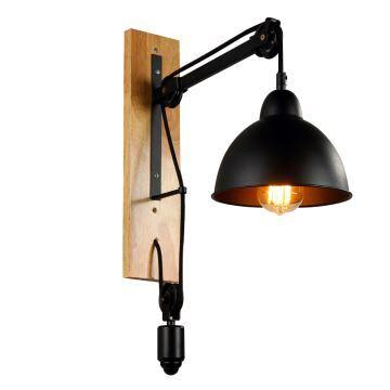 Wandleuchte rustikal seilrolle design aus eisen schwarz 1 flammig - Wandleuchte rustikal ...