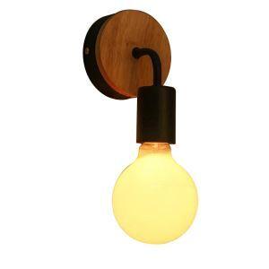 Rustikal Wandlampe Holz Design 1-Flammig
