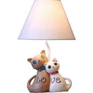 (EU Lager)Tischlampe Modern Cartoon Katze Lover Design mit Stoff Schirm