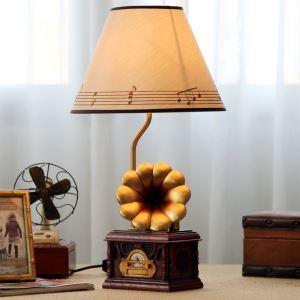 (EU Lager)Tischlampe Modern Grammofon Design mit Stoff Schirm