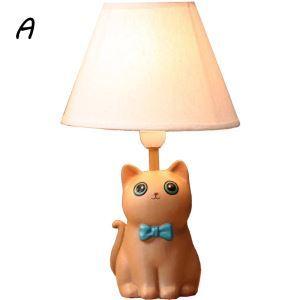 (EU Lager)Tischleuchte Cartoon Katze Design mit Stoff Schirm