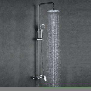 (EU Lager)Duscharmatur Set Regendusche Rund mit Einhebelmischer Silber