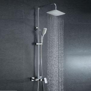 (EU Lager)Moderne Duscharmatur Regendusche aus Messing mit Einhebelmischer Silber