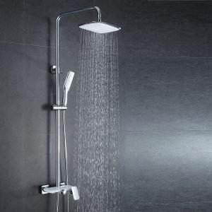 (EU Lager)Duschsystem Regendusche mit Wandmontage Einhandmischer aus Messing Silber+Weiß